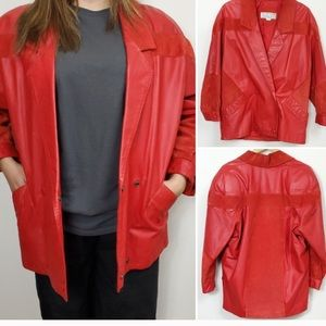 Red leather & suede Avanti vintage jacket size L